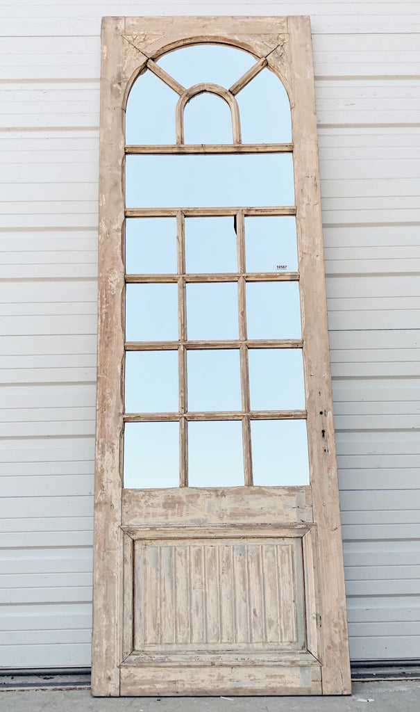 17 Pane Repurposed Half-Round Mirrored Single Door