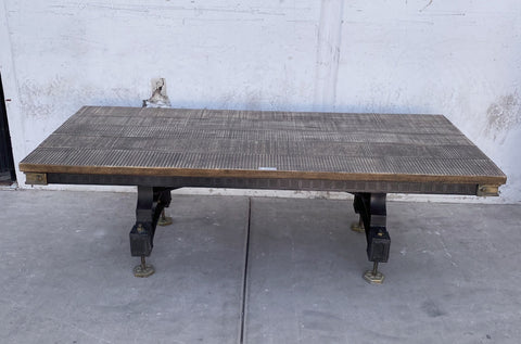 Iron Coffee Table with Wood Top