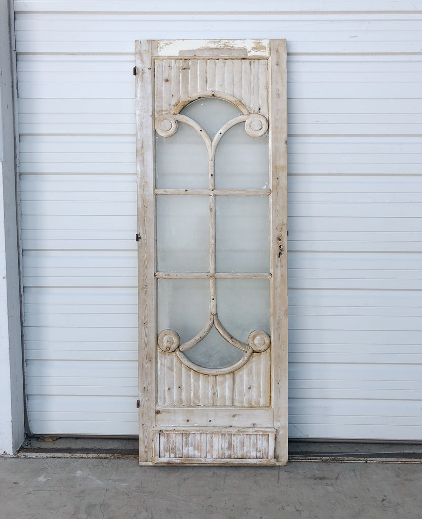 Single Wood Door with 8 Decorative Glass Panes