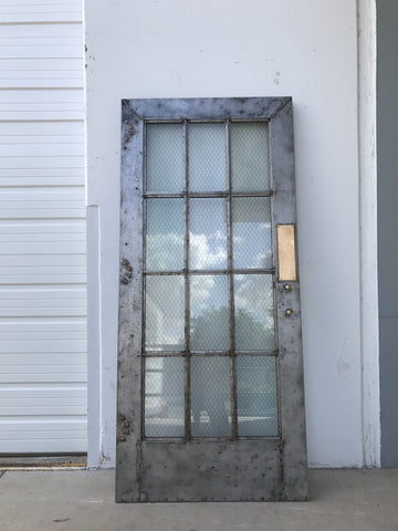 Industrial Metal Chicken Wire Glass Door
