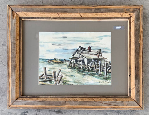 """Beach House"" Framed Watercolor Painting/Art"