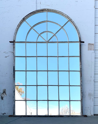 42 Pane Arched Iron Mirror