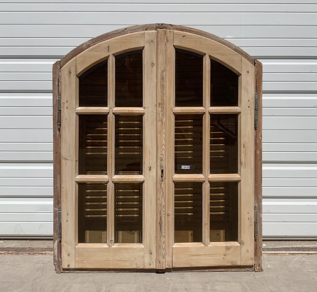 12 Pane Arched Natural Wood Window & Shutter Set
