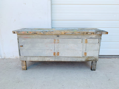 Distressed Gray Work Table