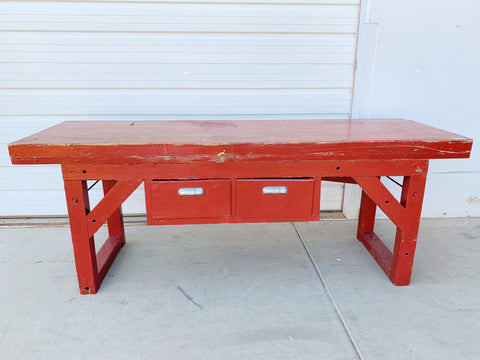 2 Drawer Red Work Table