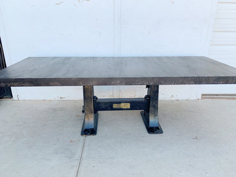8' Steel Dining Table with Machine Base