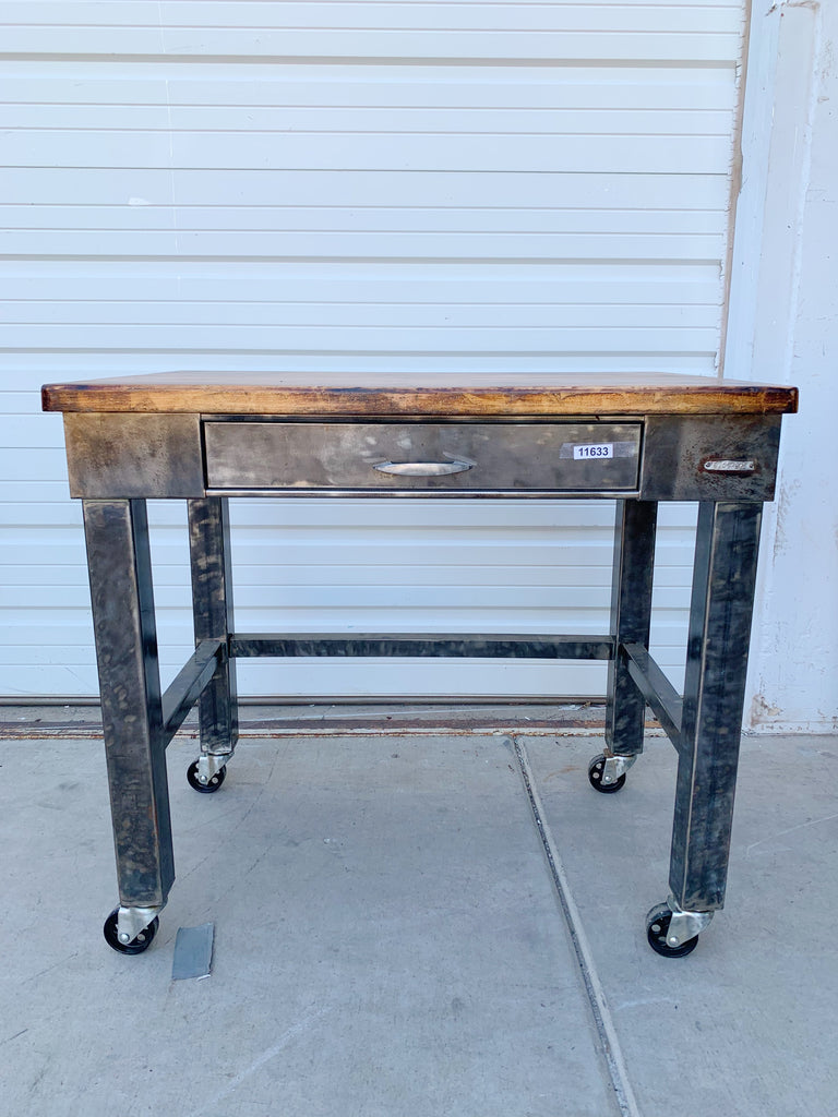 Rolling Stripped Wood Top Table