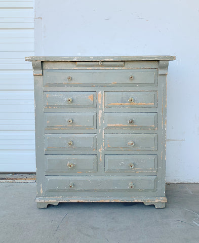 10 Drawer Gray Pine Bakery Cabinet