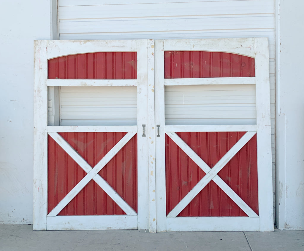 Pair of Red and White Barn Doors