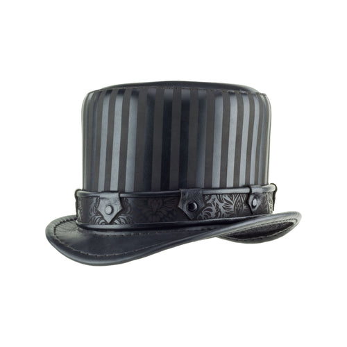 Baron Black Leather Striped Top Hat - Steampunk Victorian Brocade Band - Angle View Subverse