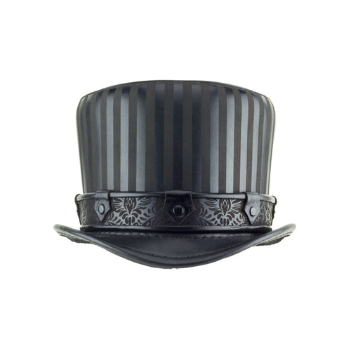 Baron Black Leather Striped Top Hat - Steampunk Victorian Brocade Band- Front View