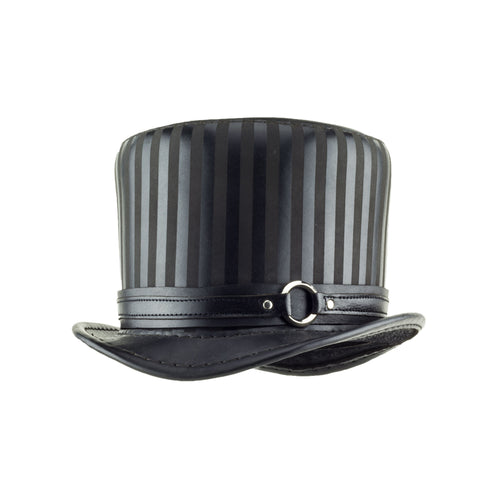 Baron Black Striped Leather Top Hat Black Ring Steampunk Band Angle Subverse