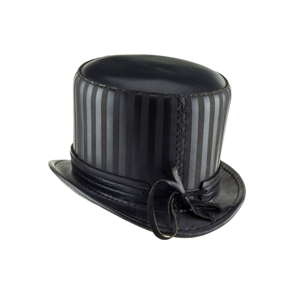 Baron Black Striped Leather Top Hat Black Ring Steampunk Band Back Subverse
