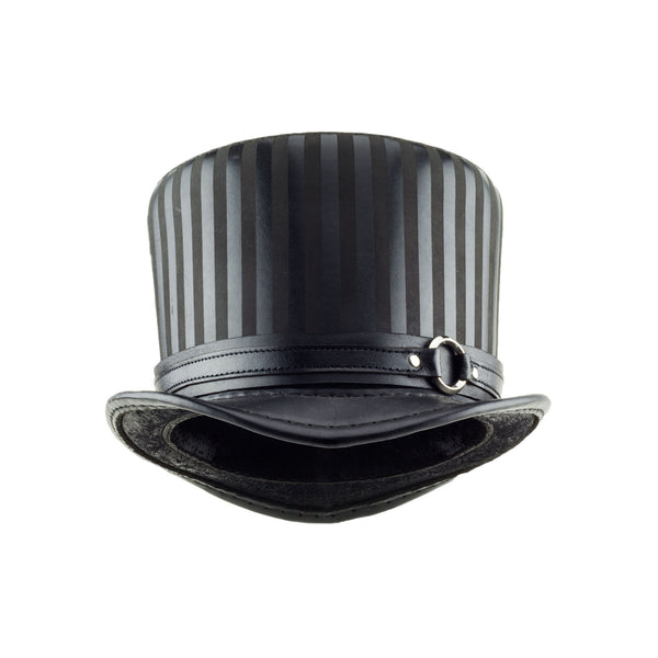 Baron Black Striped Leather Top Hat Black Ring Steampunk Band Front Subverse