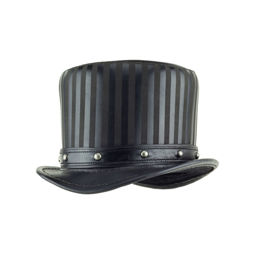 Baron Black Leather Striped Tall Top Hat with Black Dome Stud Hat Band - angle - Subverse
