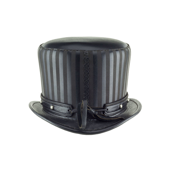 Baron Black Leather Striped Tall Top Hat with Black Dome Stud Hat Band - back - Subverse