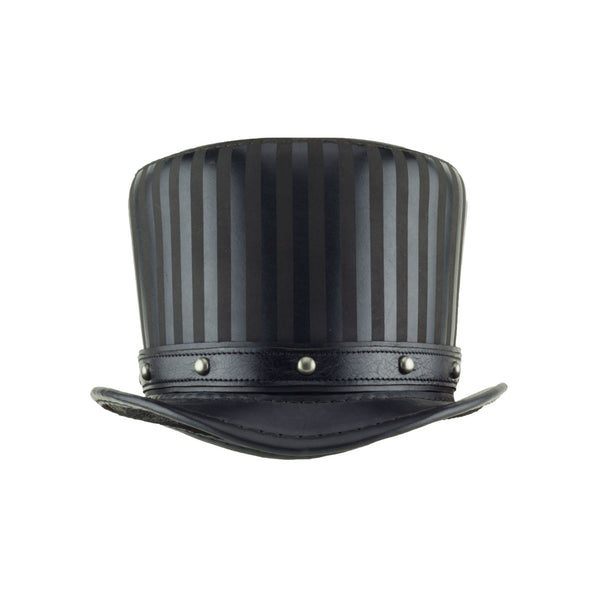 Baron Black Leather Striped Tall Top Hat with Black Dome Stud Hat Band - front - Subverse