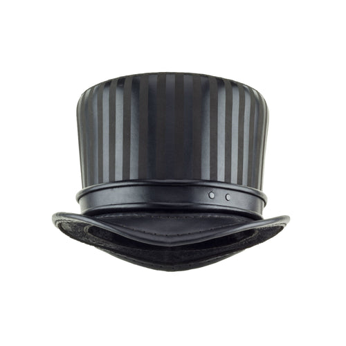 Baron Black Leather Top Hat Rolled Edge Band Front Subverse