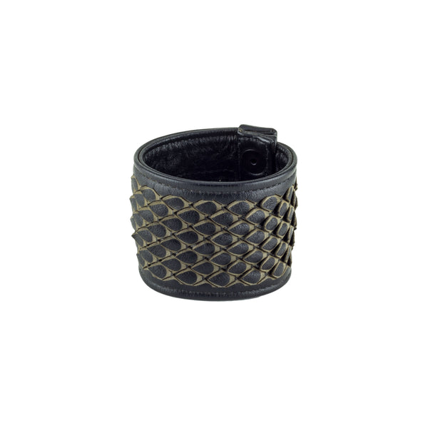 Dragon Scale Black Leather Pocket Cuff Bracelet Front Subverse
