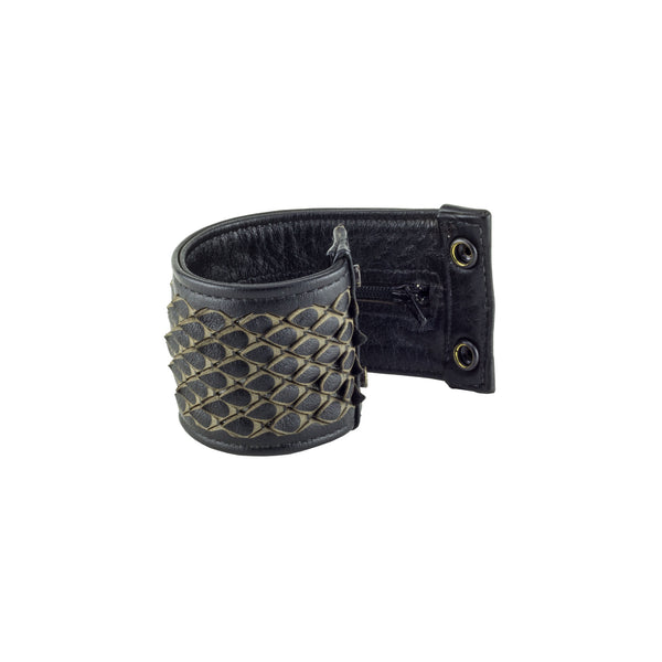 Dragon Scale Black Leather Pocket Cuff Bracelet Furled Subverse