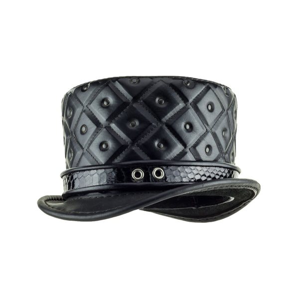 Dark Baroque Black Quilted Leather Top Hat Rococo Steampunk Hat Angle Subverse