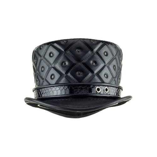 Dark Baroque Black Quilted Leather Top Hat Rococo Steampunk Hat Front Subverse