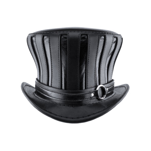 Mad Hatter Black Leather Top Hat Steampunk Tea Party Chrome Ring Band Front Subverse