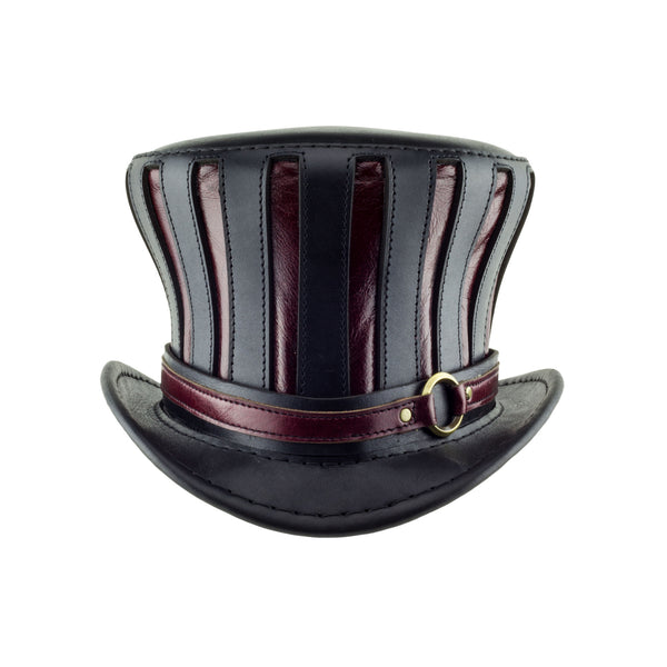 Mad Hatter Leather Top Hat in Black and Red Steampunk Coachman front Subverse