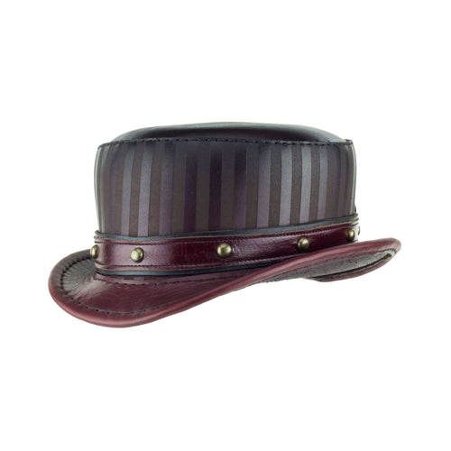 Modest Baron Oxblood Striped Leather Top Hat Brass Dome Stud Band Steampunk Circus Angle Subverse