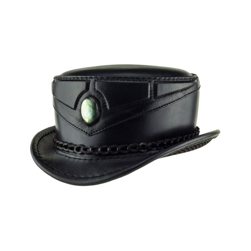 Mystic Black Leather Sci Fi Fantasy Top Hat with Labradorite Cab Angle Subverse