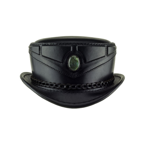 Mystic Black Leather Sci Fi Fantasy Top Hat with Labradorite Cab Front Subverse