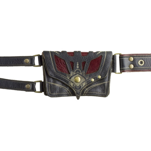 Orthrus Black/Red Leather Pocket Utility Festival Belt Closeup Subverse