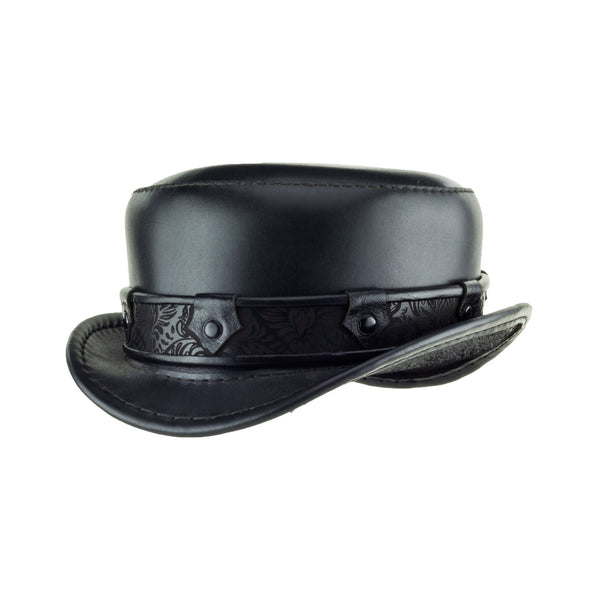 Pinterton Black Leather Short Top Hat with Black Steampunk Brocade band Angle Subverse