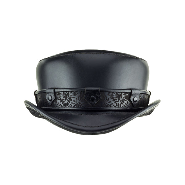 Pinterton Black Leather Short Top Hat with Black Steampunk Brocade band Front Subverse