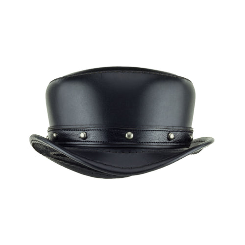 Pinkerton Black Top Hat with Rocker Nickel Dome Stud Band Front Subverse