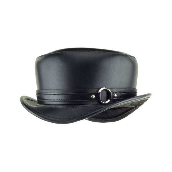 Pinkerton Black Leather Top Hat with Black/Chrome Goth Ring Band angle Subverse