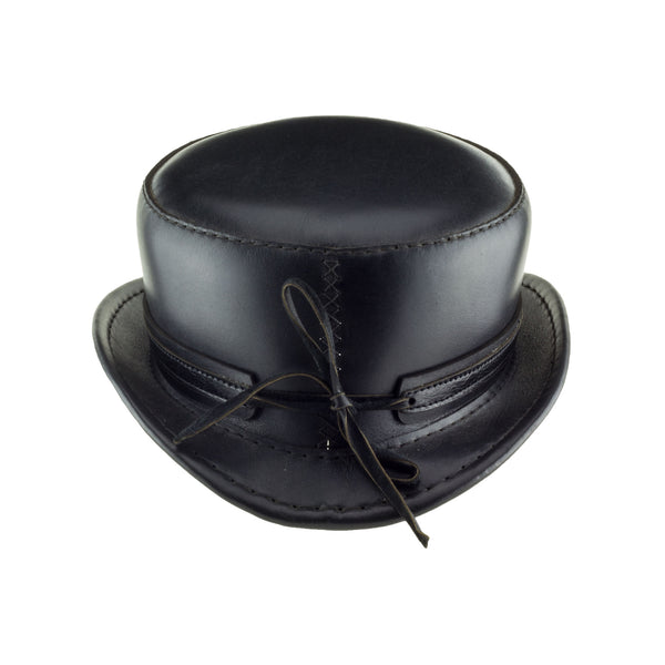Pinkerton Black Leather Top Hat with Black/Chrome Goth Ring Band back Subverse