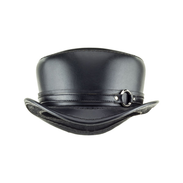 Pinkerton Black Leather Top Hat with Black/Chrome Goth Ring Band Front Subverse