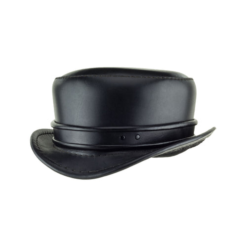 Pinkerton Black Leather Top Hat with Classic black rolled edge band angle subverse