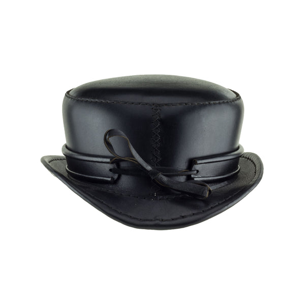 Pinkerton Black Leather Top Hat with Classic black rolled edge band back subverse