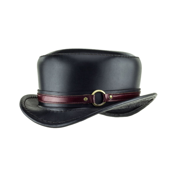 Pinkerton Black Leather Top Hat with Steampunk brass ring band angle subverse