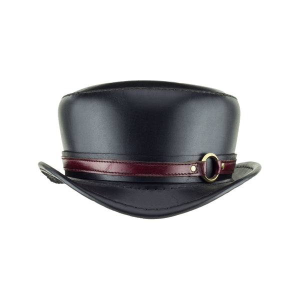 Pinkerton Black Leather Top Hat with Steampunk brass ring band front subverse