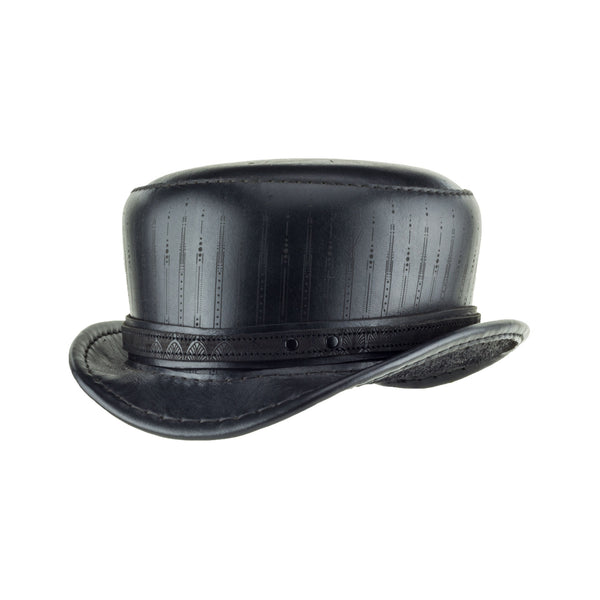 Pinkerton Deco Black Leather Short Top Hat Angle Subverse