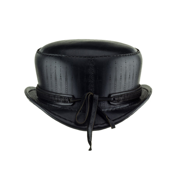 Pinkerton Deco Black Leather Short Top Hat Back Subverse