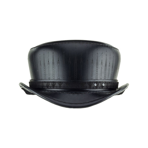 Pinkerton Deco Black Leather Short Top Hat Front Subverse