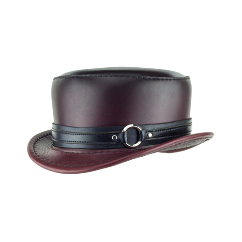 Pinkerton Oxblood Leather Top Hat black chrome ring band angle subverse