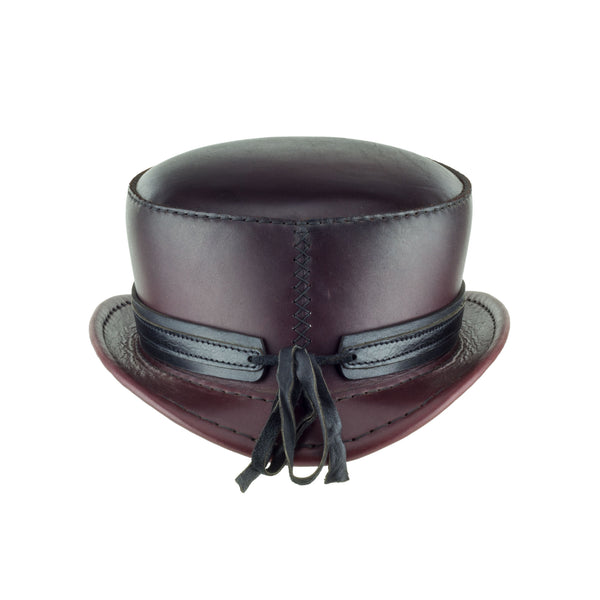 Pinkerton Oxblood Leather Top Hat black chrome ring band back subverse
