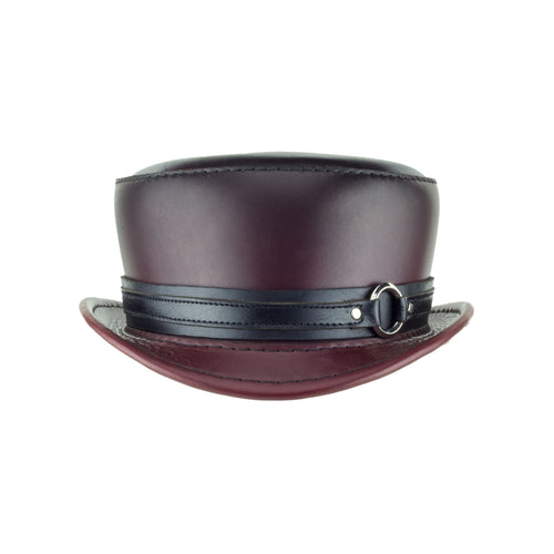 Pinkerton Oxblood Leather Top Hat black chrome ring band front subverse