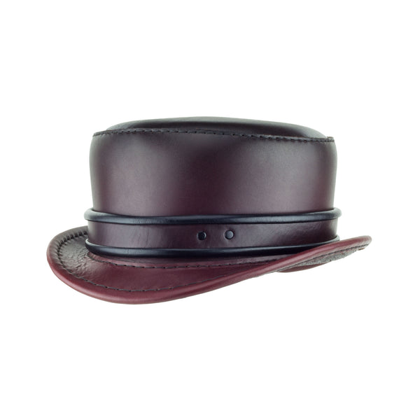 Pinkerton Oxblood Leather Top Hat with Classic Rolled Black/red rolled edge band angle Subverse