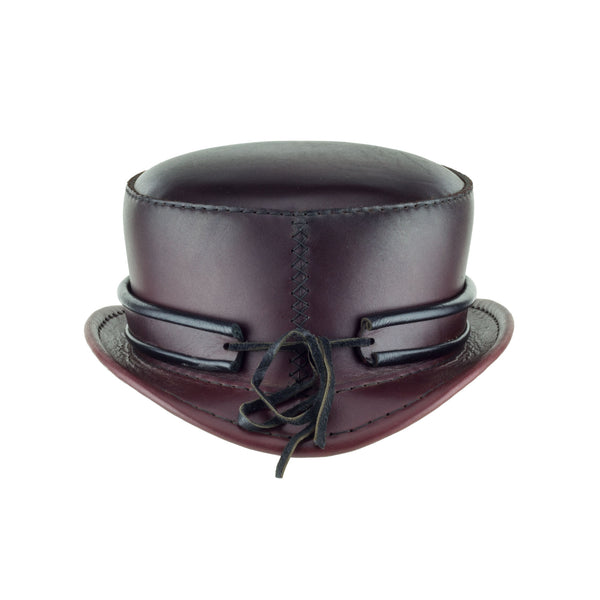 Pinkerton Oxblood Leather Top Hat with Classic Rolled Black/red rolled edge band back Subverse